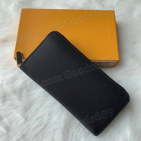 상자 먼지 가방 60017 새로운 패션 디자이너 지갑 명품 클러치 여성 지갑 남성 싱글 지퍼 지갑 지갑 카드 홀더 PU 가죽