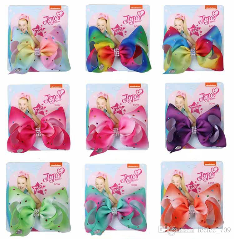 5 Inch Jojo Siwa Hair Bow Solid Color With Clips Papercard Metal Logo Girls Giant Rainbow Rhinestone Hair Accessories Mental Silver Piece