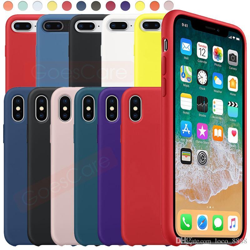 Orijinal Silikon Kılıf iPhone SE 11 Pro Max Xs Xr Vaka Sıvı İpeksi Yumuşak Dokunuş Kapak iPhone X 7 8 Artı Perakende Kutusu ile 6s 6