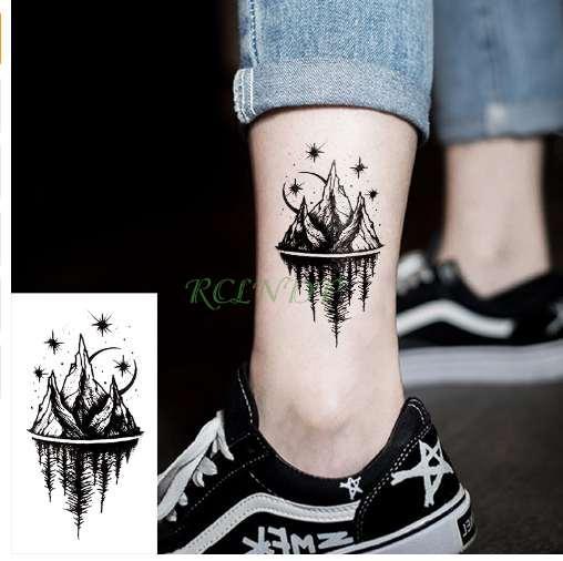 Tattoo Desenhos Adesivos à Prova D água Tatuagem Temporária Moon Hill Estrela Da Floresta Falso Tatoo Flash Tatoo Tatouage Body Art Mão Pé Para