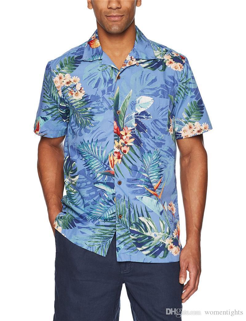 Mens fiore stampato le camice casuali Hawaii Uomini Beach camicia gira giù Maniche corte