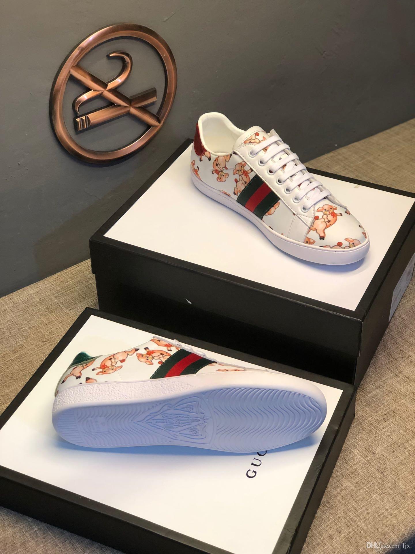 2019 da uomo Scarpe firmate footing de luxe surface cuir blanc imprimé chaussures de marche de porc 3 bandes formateurs de la plate-forme