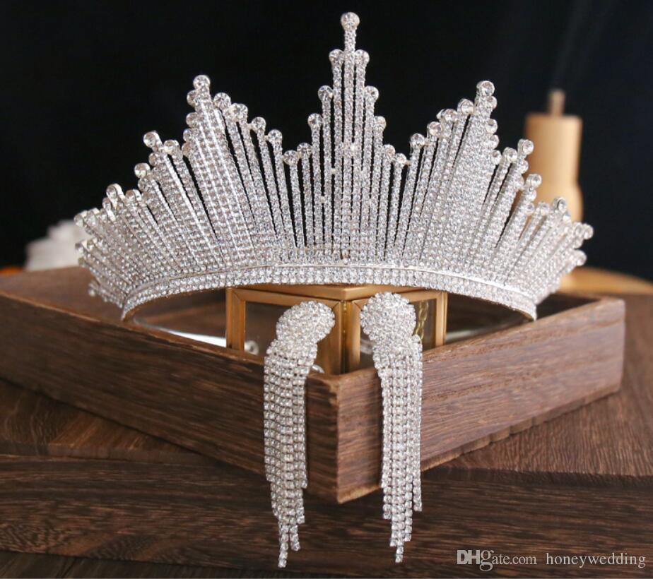 Bling Bling Set Coronas Pendientes Accesorios de joyería nupcial Tiaras de boda Diamantes de imitación Cristal Tocados Coronas de boda de cabello