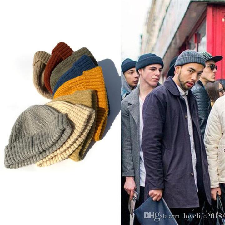 Fashion Hiphop Knitted Skullcap Men Outdoor Winter Warm Beanie Caps Vintage Hats Soild Color Ski Fisherman Beanies T332