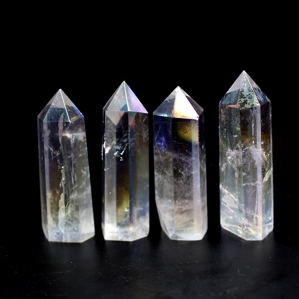 Naturel cristal clair Quartz galvanoplastie arc-en-point Baguette de guérison Pierres pour Aquarium Artisanat Faire Ornements Décoration d'intérieur