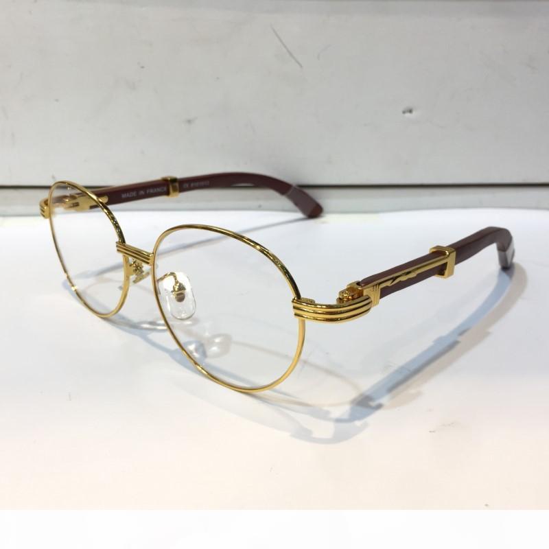 Luxus 8101013 Brillen Korrektionsbrillen Weinlese-runde Rahmen aus Holz Männer Designer Brillen mit ursprünglichem Fall Retro Design Gold überzogenen