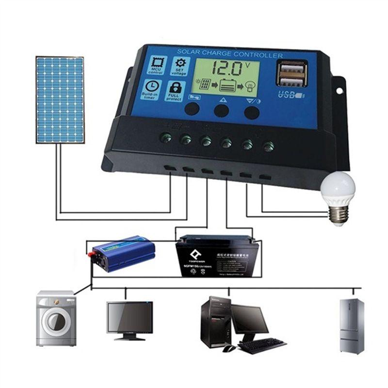 30A 12V / 24V Генератор контроллера солнечной зарядки с портами USB Подсветка дисплея Главная панель солнечных батарей Батарея Интеллектуальный регулятор