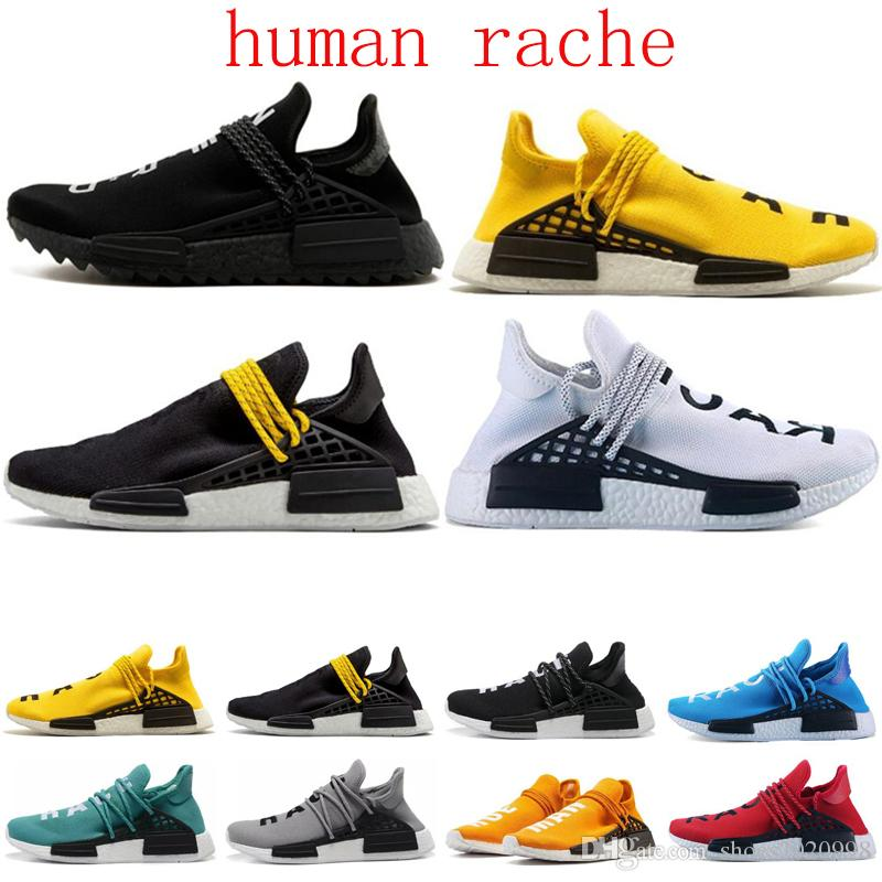 Free Shipping Newest Human Race pharrell williams Running shoes for Men Women Black yellow all white Trainers designers Sports Sneakers 36-45