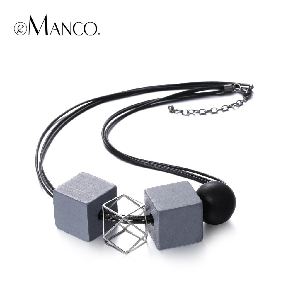 eManco New black rope wooden beads choker necklace ethnic square chain geogemtric vintage necklace for women collares mujer