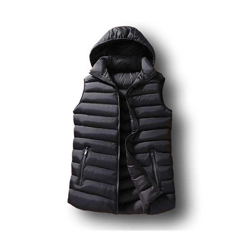 망 겨울 민소매 자켓 남자가 조끼 망 따뜻한 두꺼운 후드 코트 남성 면화 패딩 된 작업 허리 코트 Gilet Homme 조끼 6XL