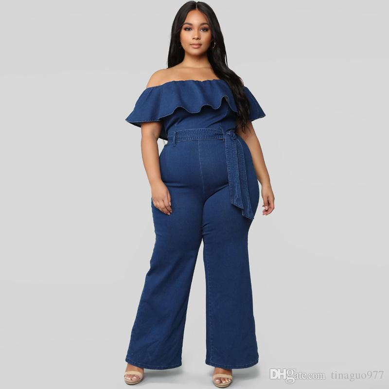 find workmanship discount collection the latest 2019 Plus Size Denim Jumpsuits For Fat Women Off Shoulder Ruffle Jean  Jumpsuits Wide Leg One Piece Jumpsuits From Tinaguo977, $40.46 | DHgate.Com