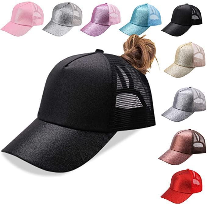 Glitter Ponytail Ball Cap Messy Buns Trucker Ponycaps Plain Baseball Visor Cap Glitter Ponytail Hats Snapbacks Party Hats
