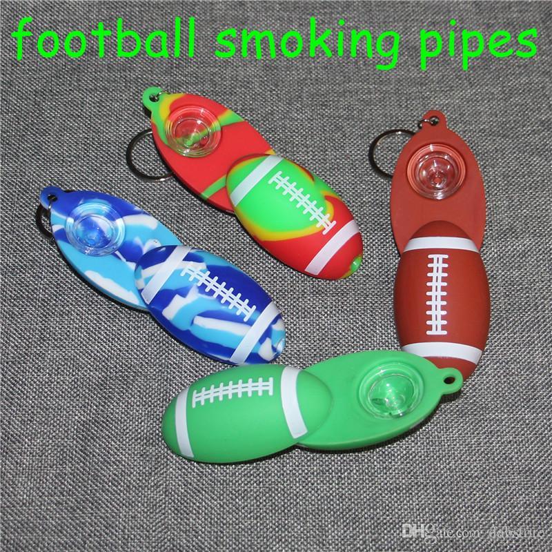 Material de Silicone Rig futebol tabacoo tubo de fumar cachimbo de Mão Tubo de Hookah Bongos de óleo de silicone dab rig DHL livre