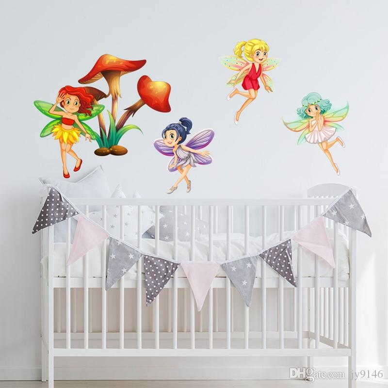 Flower Fairy Wall Decal DIY Cartoon Decorative Sticker for Baby Room Fairy Decor Girls Gift Removable
