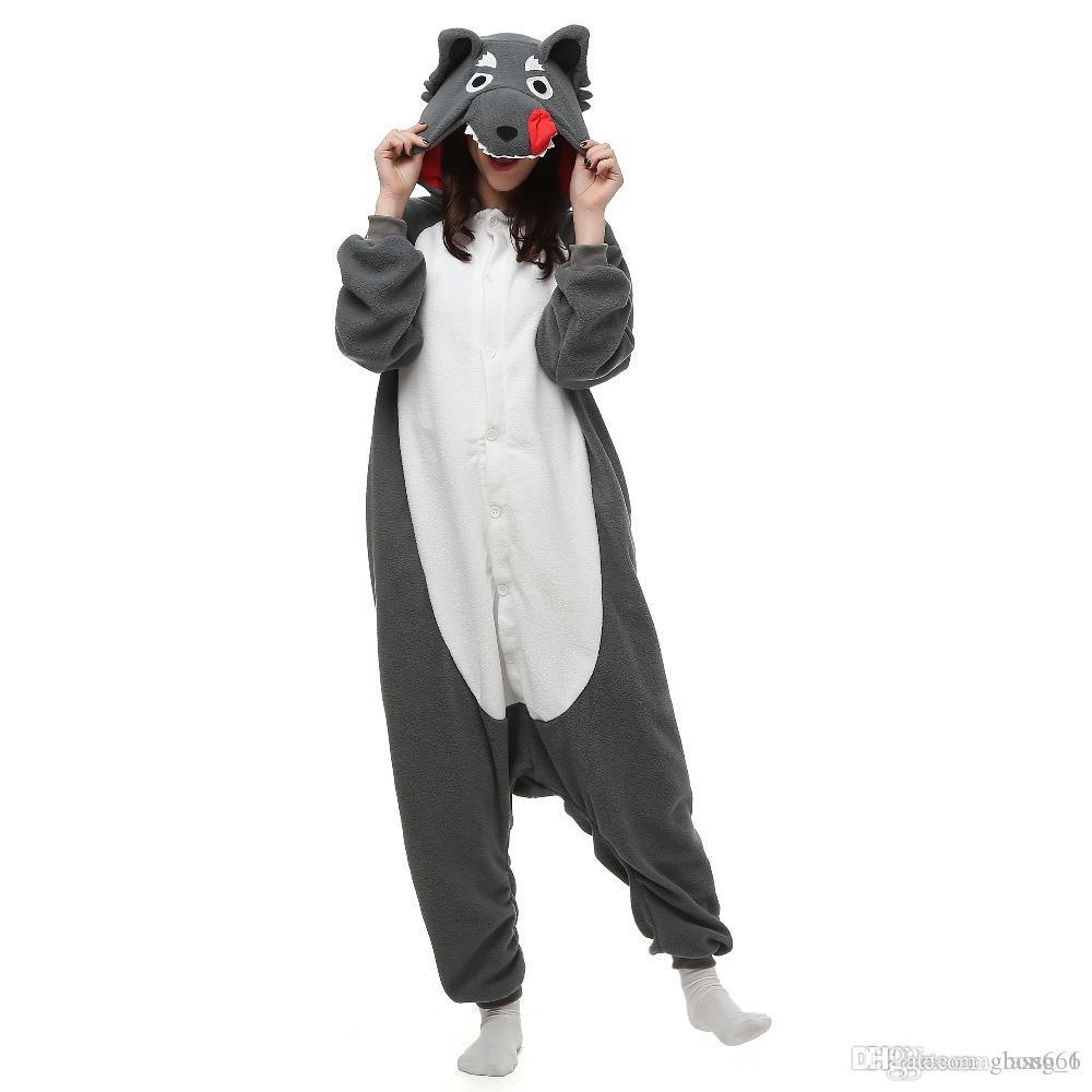 남여 신생아 동물 회색 늑대 잠옷 고품질 회색 만화 Kigurumi Onesies 의상 점프 슈트 크리스마스 선물