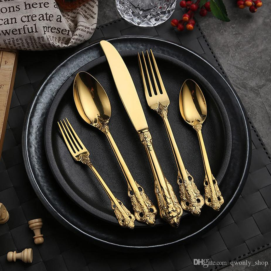 Yüksek dereceli Retro sofra takımı seti gümüş ve altın paslanmaz çelik çatal seti bıçak çatal kaşık 5 parça yemek takımı seti sofra takımları