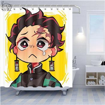 Demon Slayer Tanjirou Nezuko Waterproof Shower Curtain Bath Wall Hangings Hooks
