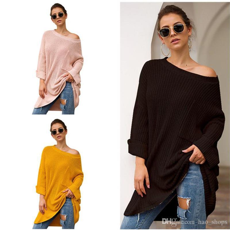 Outono Inverno camisola de malha Mulheres Medium Design Camisola Knitwear Casual soltos camisolas pulôver manga comprida camisola de malha Roupa de inverno