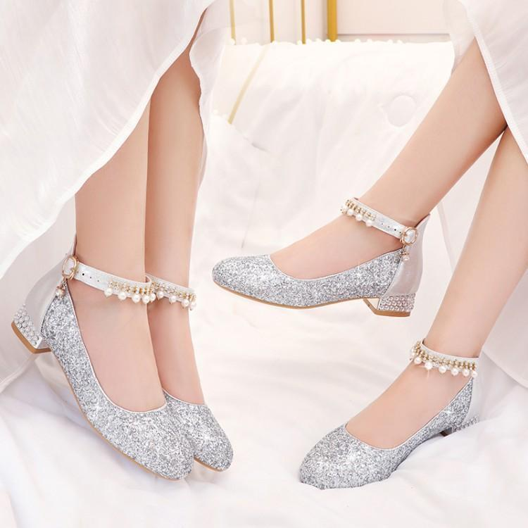 Вечерние туфли для девочек на высоком каблуке кожаные туфли постельные принадлежности большие девушки студентка показала каблук блестками Size28-37 высокое качество
