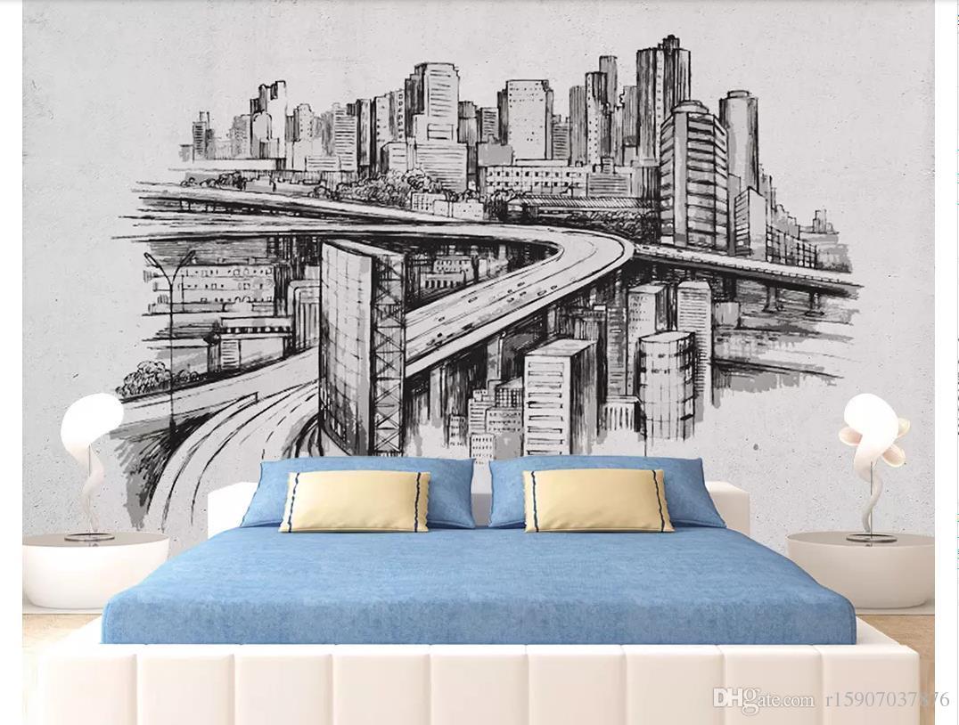 3D papéis de parede personalizado home decor foto papel de parede nórdico minimalista tinta pintada à mão arquitetura urbana quarto TV sofá fundo mural