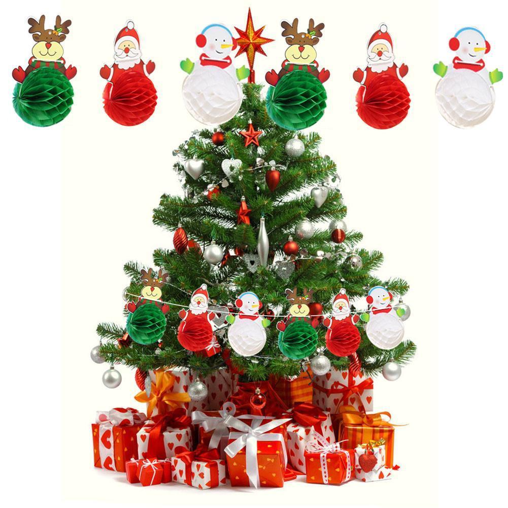 Décorations de Noël Père Noël Bonhomme de neige Boulette en papier Garland festival Lieu Décoration papier Garland fête de Noël Décor