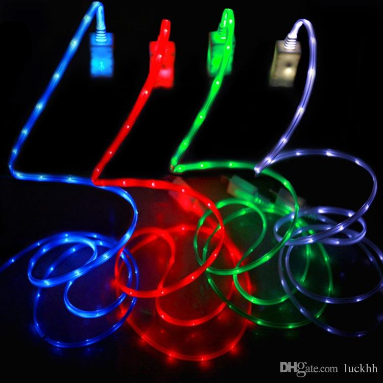 Flowing LED Visible Flashing USB Charger Cable 1M 3FT Data Sync Colorful Light Up Cord Lead for Samsung HTC Blackberry