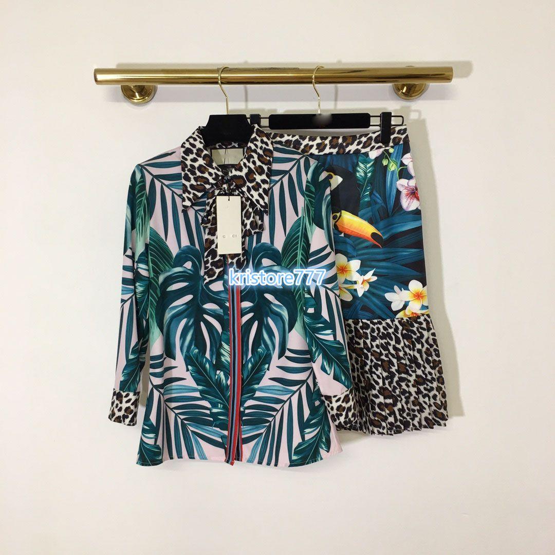 2020 High End Womens Girls Set Shirt Patchwork Leopard Flora Print Lapel Neck Long Sleeve Blouse Tee Tops Short A Line Skirt Casual Design Suit From