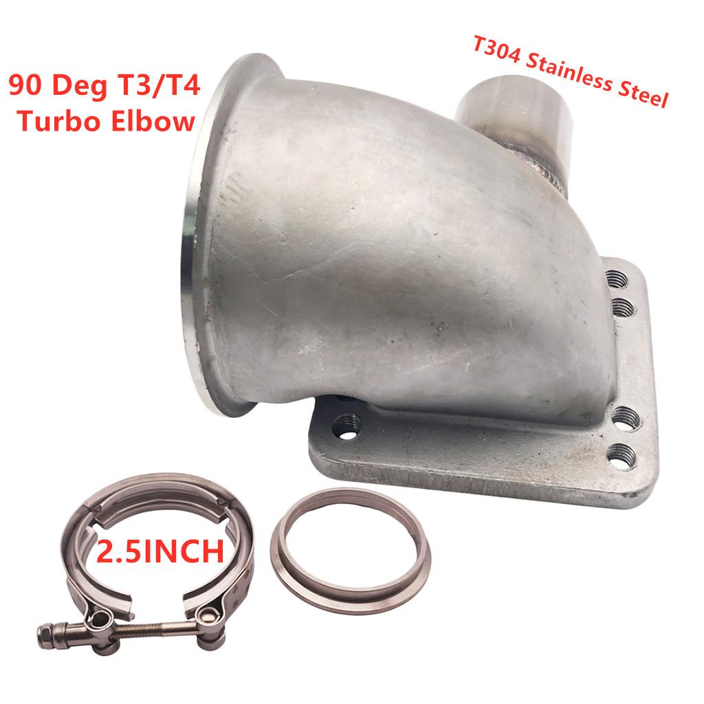 "Fundido V-banda 90deg Turbo cotovelo adaptador de flange Montagem W / 1,75 \"" Tubo OD Wastegate"
