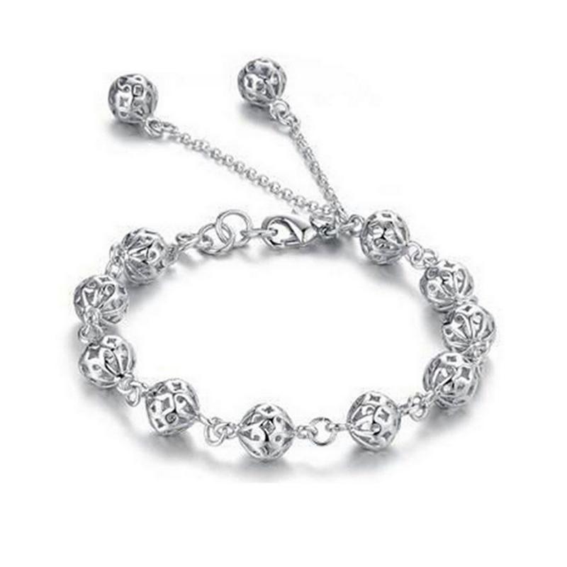 Braccialetto regali donne moda Incontri giornaliera sfera elegante colore gioielli in argento placcato scavato Out Exquisite Accessori