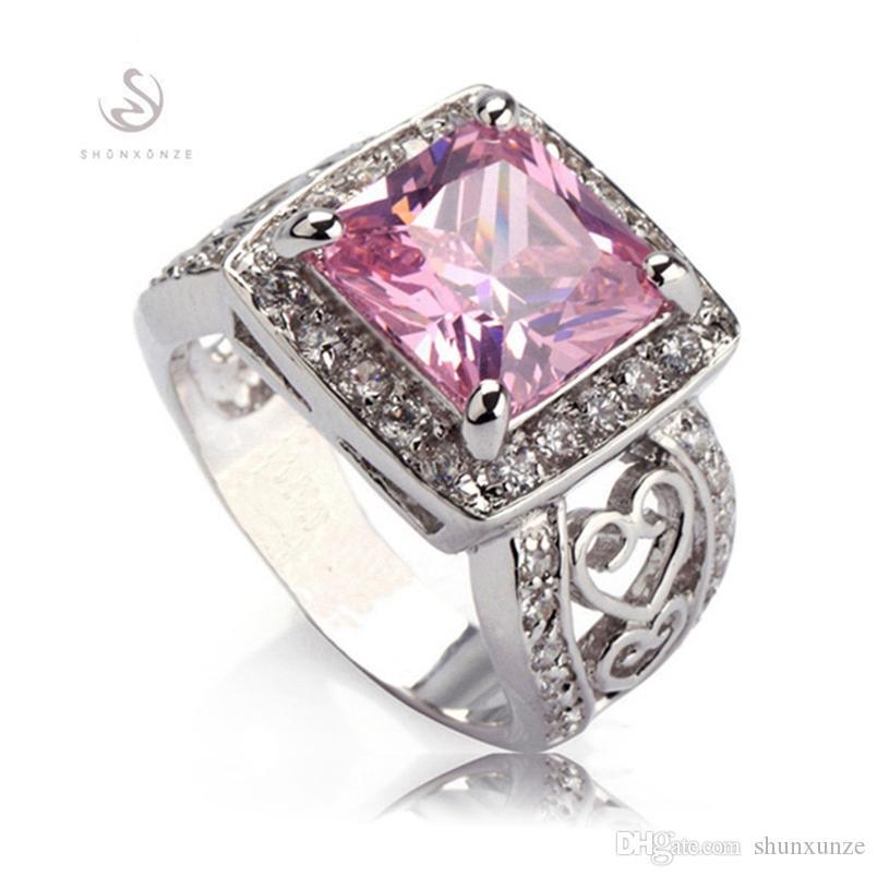 Shunxunze ädla generösa ringar för kvinnor engagemang bröllop dag julklappar sex försäljning rosa kubisk zirkonium sida silver pläterad R371 storlek 6 7 9