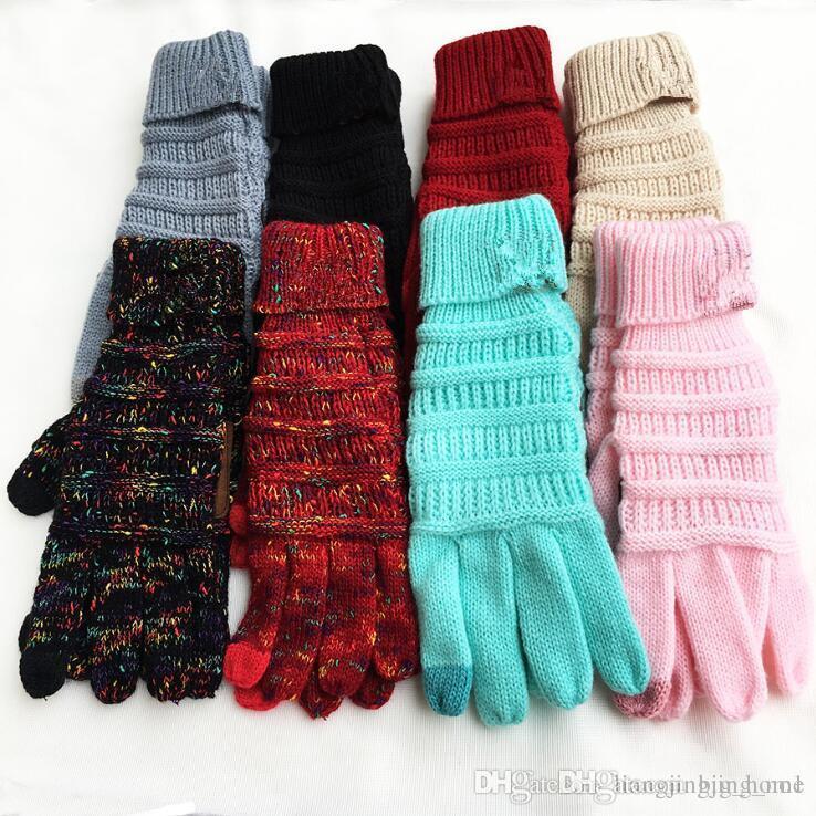 Toque Luvas tela de 8 cores do inverno malha Luvas Moda estiramento de lã malha Quente Dedo completa Mittens Party Supplies LJJ_OA5862