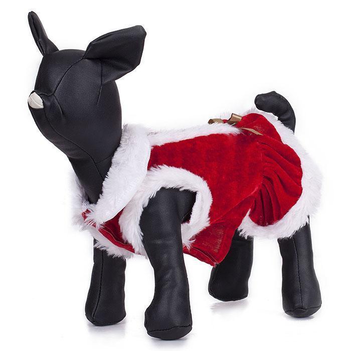Hundeweihnachtskleid Haustier Rot Weiß Band mit Klettverschluss Patchwork Samt Frühling, Herbst Kleid Kleidung Kleidung und