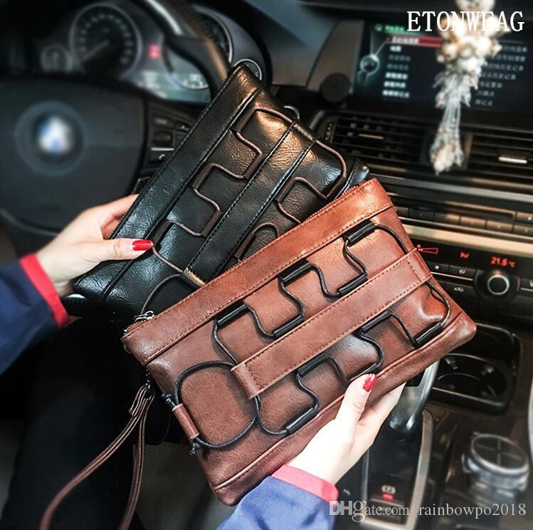 Factory wholesale men handbag street cool men clutch fashion leather business clutch personality multifunctional leather storage wallet