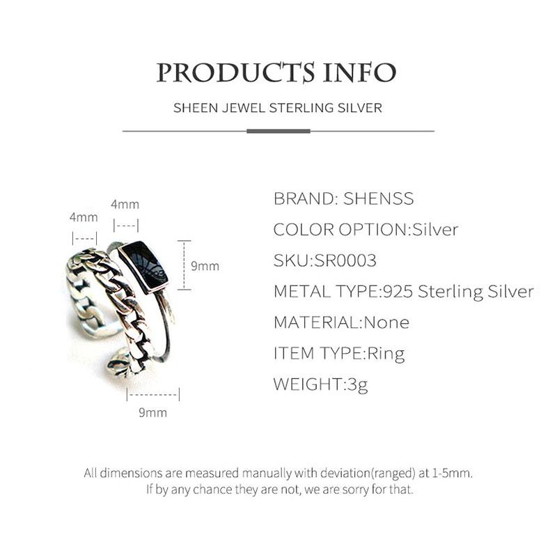Elegant Quality 925 Rings Vintage Thai Silver Twist Epoxy Ring S925 Sterling Silver Ring for Women Adjustable