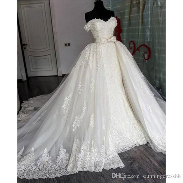 2020 Detachable Train Wedding Dresses Elegant Off shoulders Applique Lace Tulle Court Train Cheap Wedding Dress Bridal Gowns Cheap