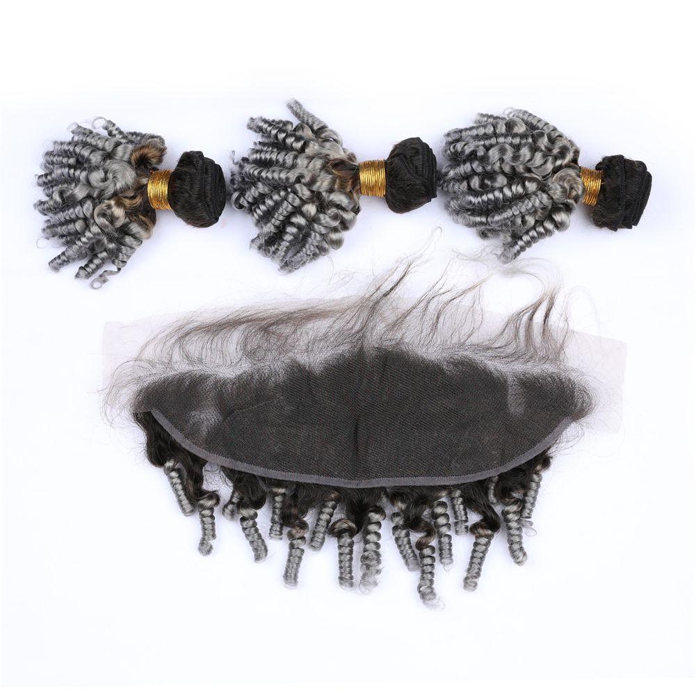 Aunty Funmi Bundles de cheveux bouclés avec oreille à la dentelle frontale Deux tons # 1B Gris Romance Bundles de cheveux bouclés avec dentelle Frontale 13x4