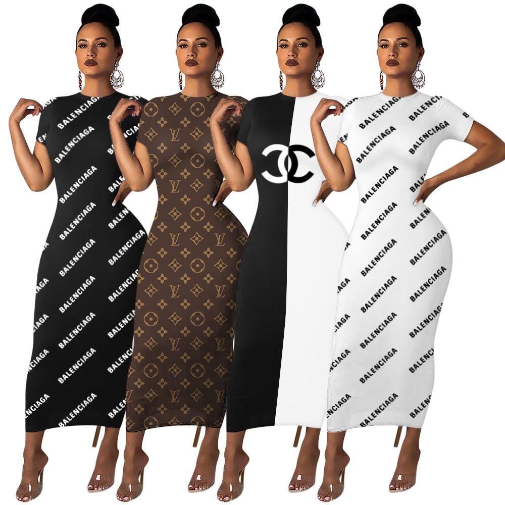 Geben Sie Schiff 2020 Sommer-Frauen-Mode-Druck-Rundhalsausschnitt-Bleistift-Kleid-beiläufige kurze Hülsen Bodycon Kleider XXL
