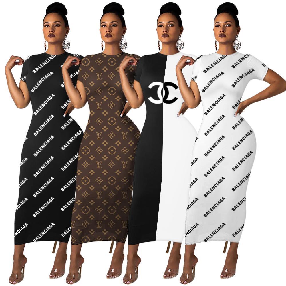 무료 배송 2020 여름 여성 패션 인쇄 크루 넥 연필 드레스 캐주얼 짧은 소매 Bodycon 드레스 XXL