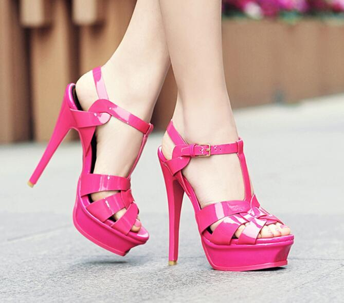 Hot Selling Candy Color Platform High Heel Sandal for Woman 2019 Summer Sexy Peep Toe Cutouts Dress Shoe T-strap Gladiator Shoe