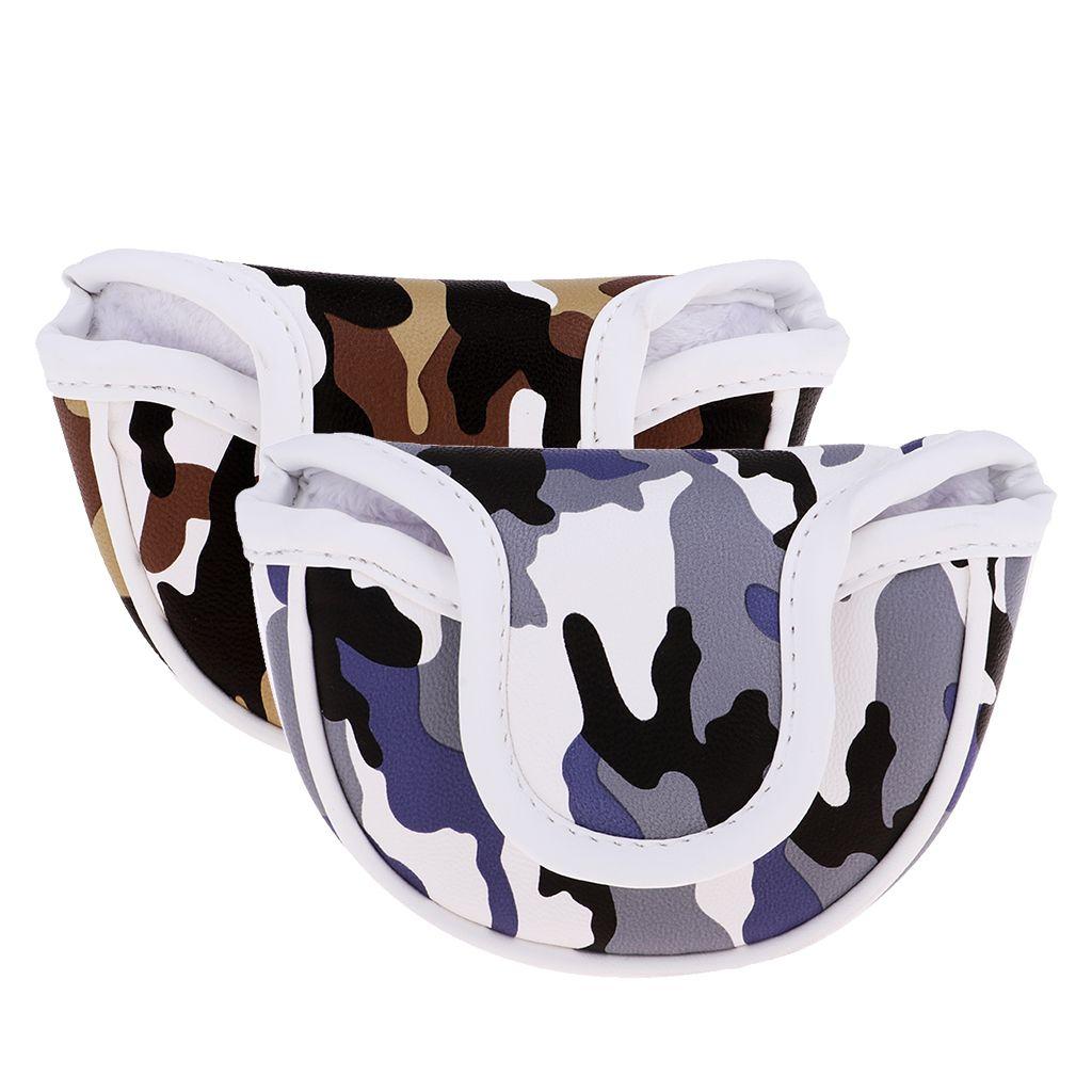 PU haut de gamme Golf Headcover garde Mallet Putter Cover Protector avec aimant de fermeture Camo. Marron bleu