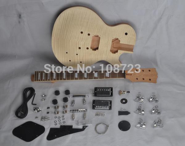 DIY Gitarlar Maun Gövde Bitmemiş Elektro Gitar Seti ile Flamed Akçaağaç Üst İkili Humbucker manyetikleri