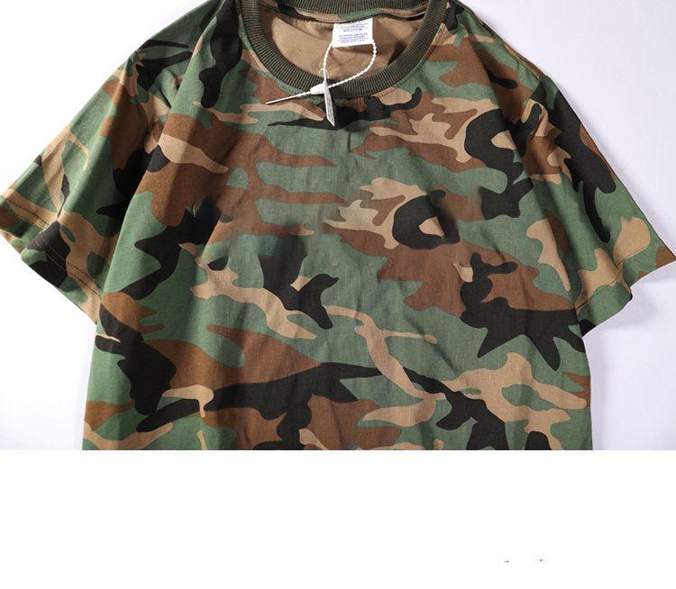 Erkek Tişörtü Yaz Tshirts Erkekler Giyim Moda Kamuflaj Desen Kısa Kollu Son Moda Sokak Stili Giyim Nefes Tees Boyutu için S-2XL
