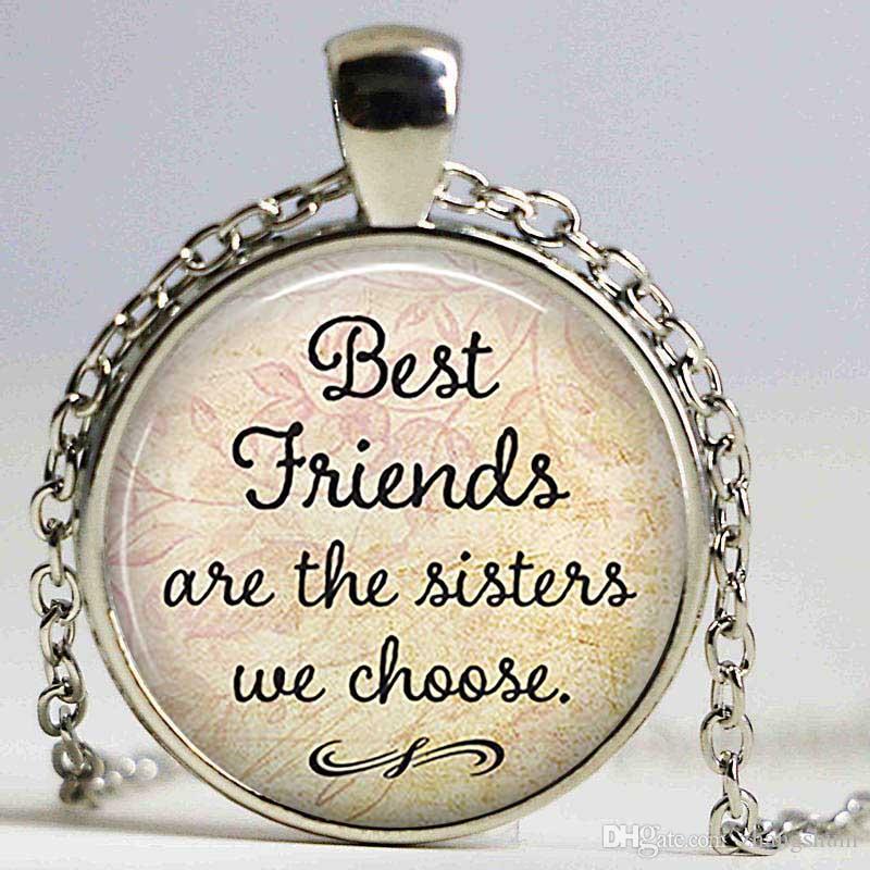 Melhores Amigos São As Irmãs Escolhemos Amizade Pingente Citação Jóias Cabochão De Vidro Colar Declaração de Prata Cadeia Gargantilha