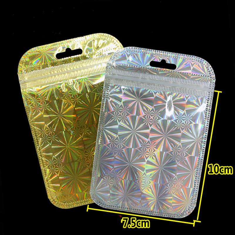 Ferimo 500pcs Laser gold/silver aluminum foil bag self sealing plastic jewelry data line storage bags zip lock baggies package