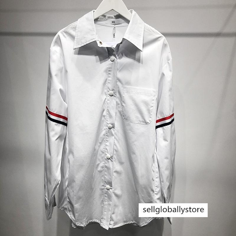 TB şerit gömlek ceket Bahar Yeni İnternet ünlü aynı beyaz gündelik batı tarzı gömlek çift aşınma gömlek