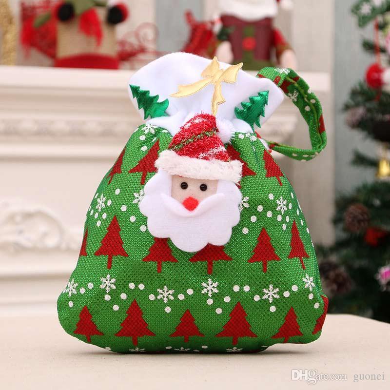 Designer-Santa Claus Bonhomme De Neige Cerf De Noël Bas Arbre De Noël Ornements Décorations De Noël Festival Cadeau Titulaires Sacs 2017