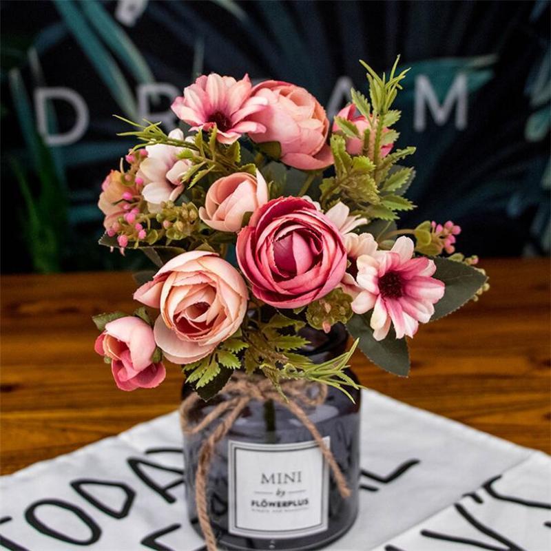 Artificielle Hydrangea Fleur en pot Plantation 5 couleurs Head Faux Silk simple Real Touch pour mariage Accueil Centerpieces Party fleurs décoratives