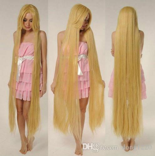 Rapunze 슈퍼 150CM 긴 가발 스트레이트 금발의 코스프레의 가발 전체 머리가 발