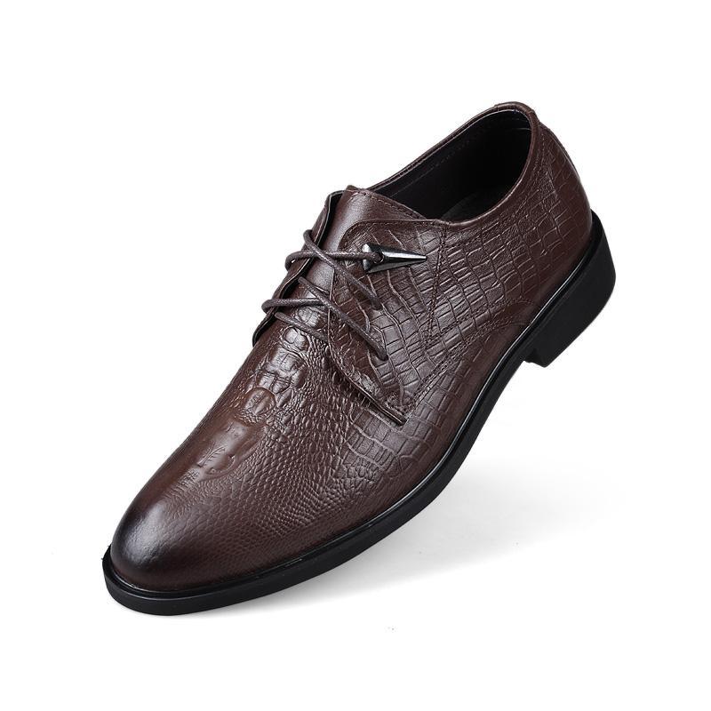 Crocodile Grain 2019 New Dress Chaussures pour hommes d'affaires en cuir véritable formelles Lacets Chaussures Homme British style richelieu