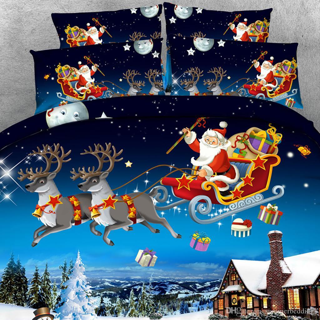 3PCS 3D Elk Papai Noel impressão edredon cobrir Set Cama com fronha, microfibra Quilt Cover, fechamento com zíper, NO Consolador